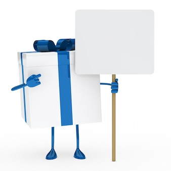 Gift with blue ribbon and a sign