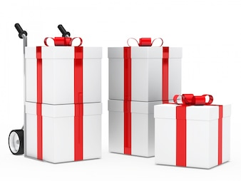 Gifts with red ribbons for birthday