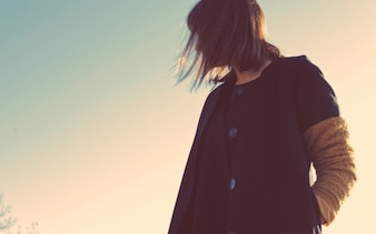 Girl and soft sky