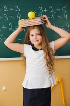 女の子、計算、クラス、黒板