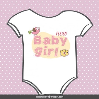 Girl body suit baby shower card