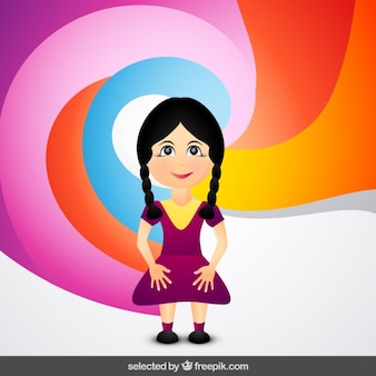 Girl cartoon on colorful background