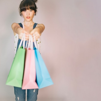 Girl holding packages