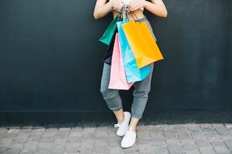 女の子、保有物、買い物