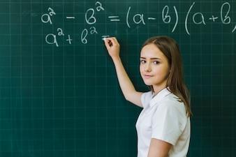 Girl in maths class