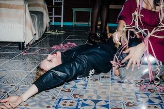 Girl laying on the dance floor