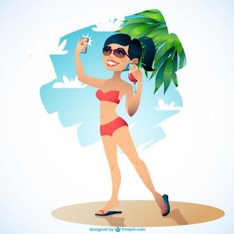 Girl on beach taking selfie
