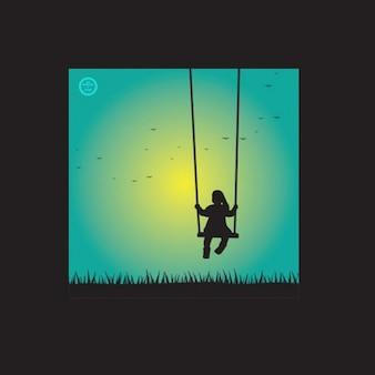 Girl on swing graphics vector