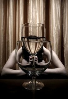 girl praying  wineglass