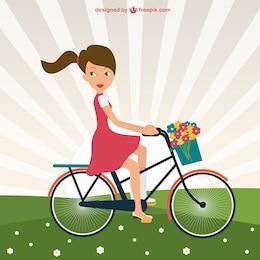 Girl riding bike in park vector