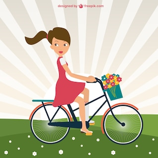 Girl riding bike in park vector