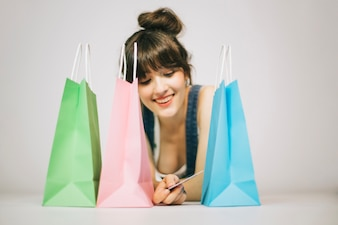 Girl smiling after shopping
