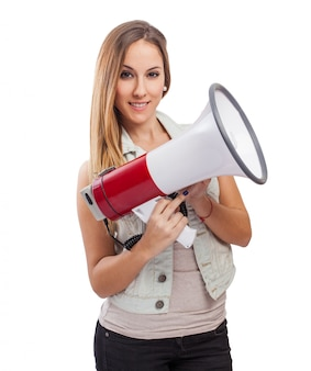 Girl smiling with a megaphone