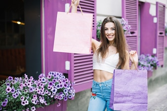 Girl smiling with packages