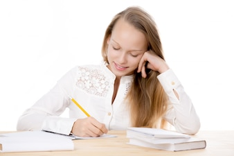 Girl studying and looking at his notes