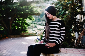 Girl studying in nature