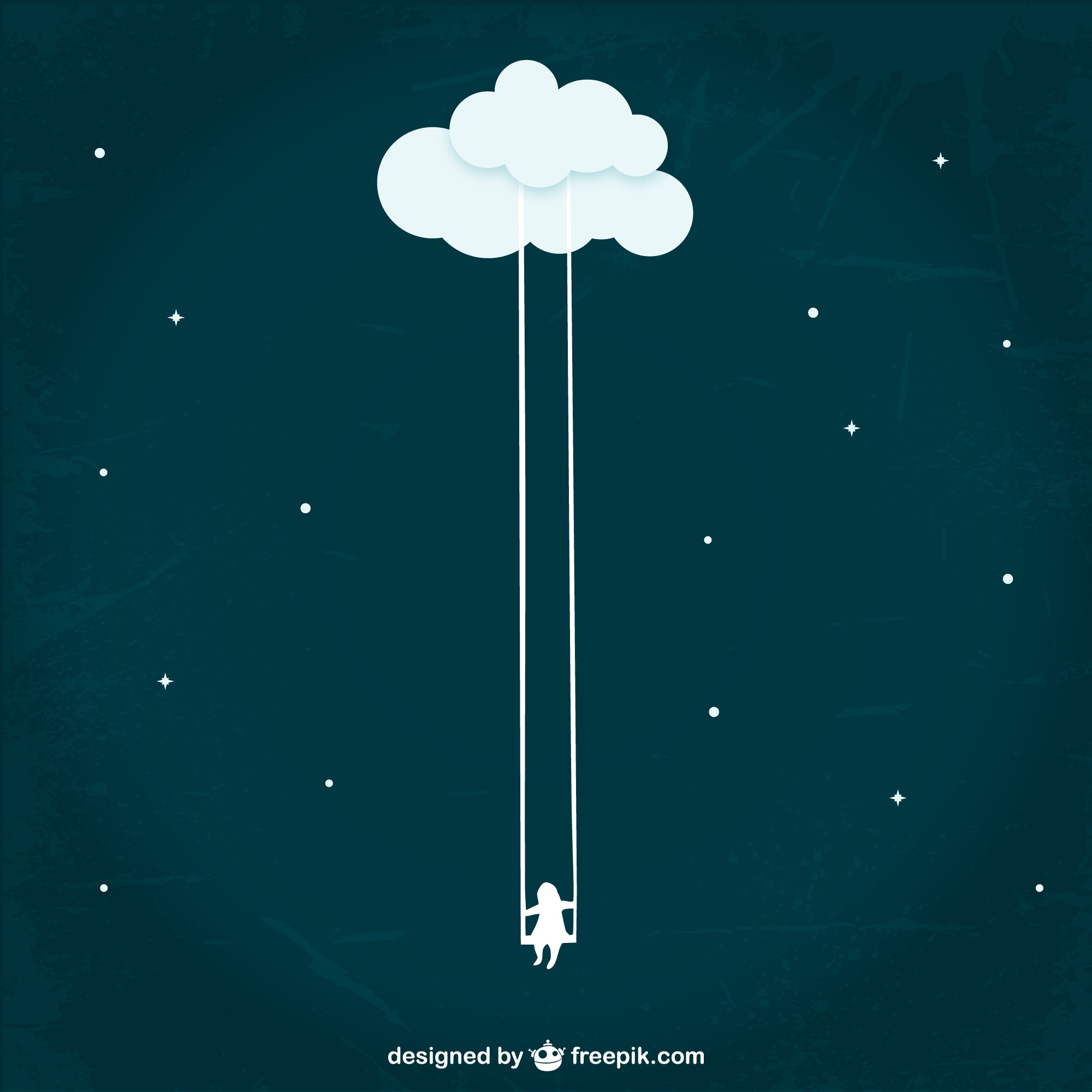 Girl swinging from a cloud