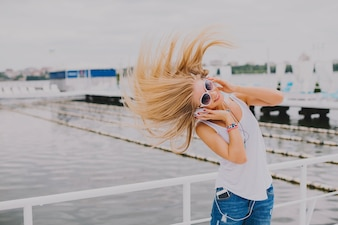 Girl waving hair