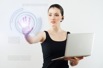 Girl with a computer and touch screen