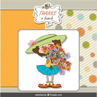 Girl with a flower bouquet greeting card