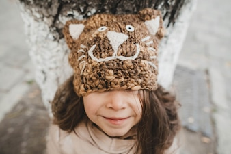 Girl with a kitten's hat