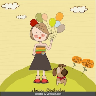Girl with balloons and dog birthday card