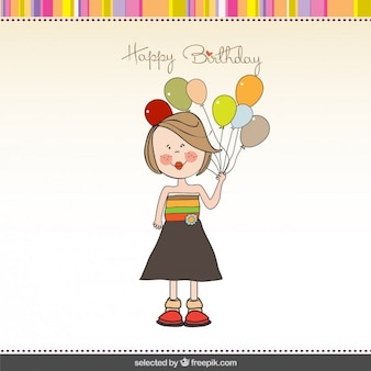 Girl with balloons birthday card