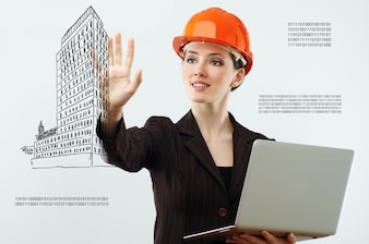Girl with helmet and sketch of building