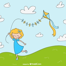 Girl with kite cartoon