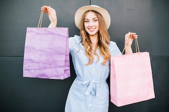 Girl with shopping packages