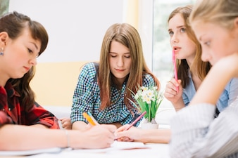 Girls in process of studying together