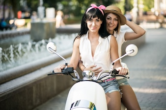 Girls on scooter