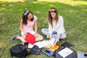 Girls studying in park