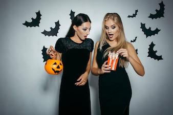 Glamour women on Halloween party
