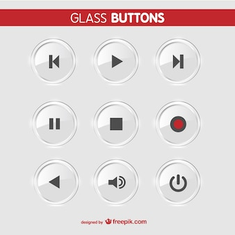 Glass buttons vector set