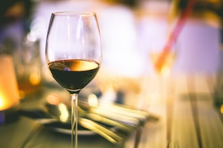 Glass of golden wine