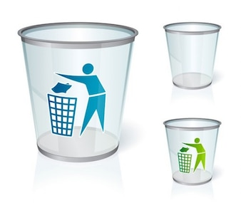 glass recycle bin icon vector