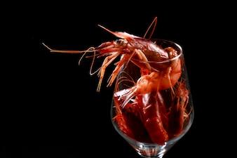 Glass with prawns inside
