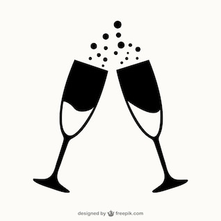 Glasses of champagne outlines