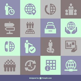 Global business flat business elements