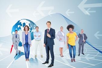 Global map executives businessman computer graphic