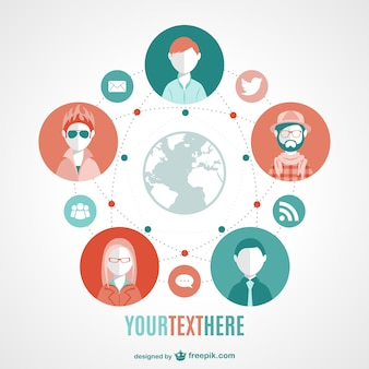 Global modern social media vector image