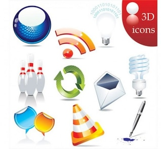 glossy 3D icon vector set pack