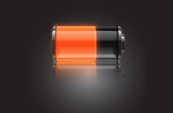 Glossy black and red battery vector icon
