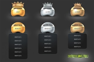glossy gold pricing table & award set psd