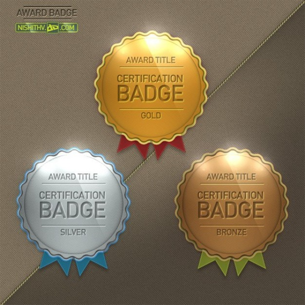 glossy round scalloped award badge set
