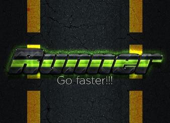 glow effect runner style psd