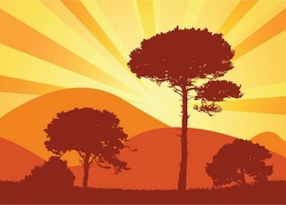 Glowing silhouette hillside trees background set