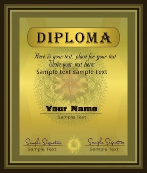 gold diploma certificate template vector