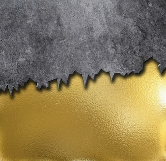 Gold metal background with cement